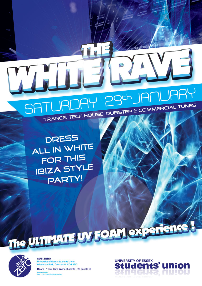 White Rave - UV Foam Party Poster